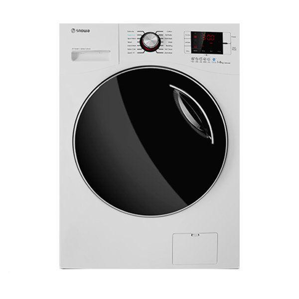 ماشین لباسشویی اسنوا مدل SWM-84506 ظرفیت 8 کیلوگرم دارای هیتر سرامیکی سفید درب دودی